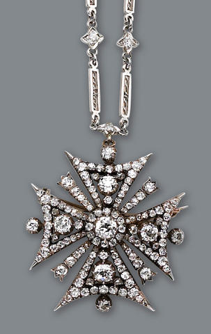 An antique diamond pendant-brooch and chain,