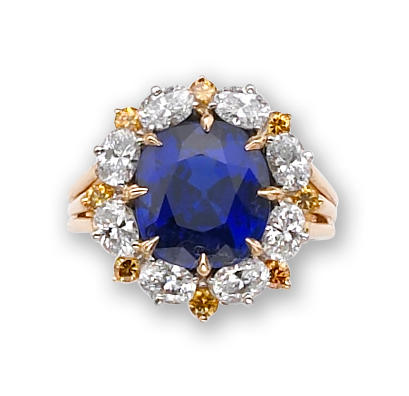 A Burmese sapphire, colored diamond and diamond ring, Oscar Heyman & Bros.