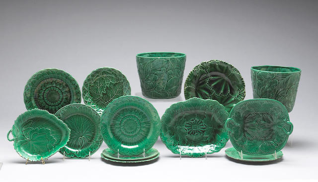An assembled group of green leaf molded majolica