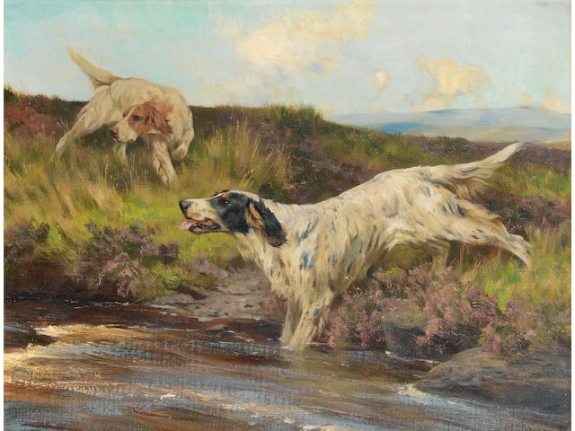 Arthur Wardle, RI (British, 1864-1949) Crossing the burn 14 1/4 x 18 1/8 in. (36 x 46 cm.)