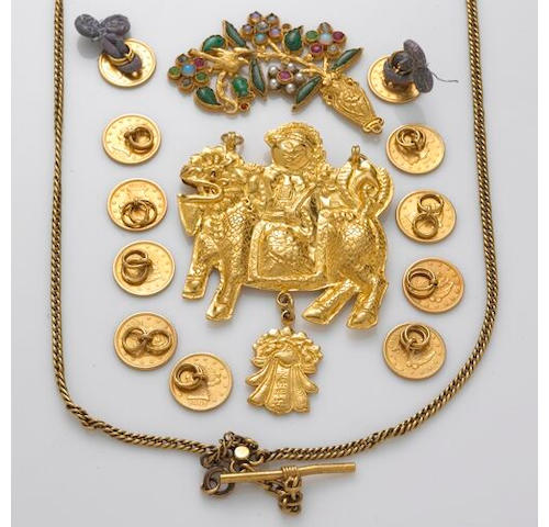 A collection of high karat gold jewelry, including two pendants, eleven buttons and a watch chain