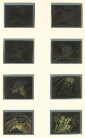 "Eight Walt Disney preliminary thumbnail drawings from ""Fantasia"""