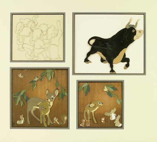 "Four Walt Disney celluloids from ""Snow White and the Seven Dwarfs"" and ""Ferdinand the Bull"""