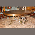 A Regency style mahogany two pedestal dining table