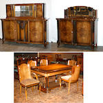 A Belgian Art Deco walnut dining room suite