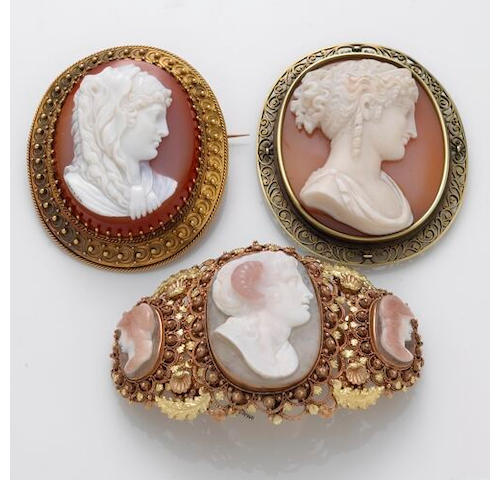 A group of Victorian hardstone cameo and 14k gold jewelry