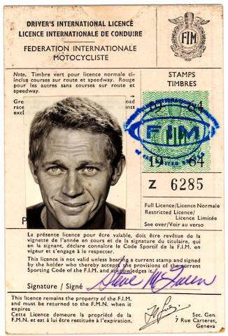 Driver's International License No. Z 6285  Issued to Steve McQueen by the FIM, Federation Internationale Motocycliste