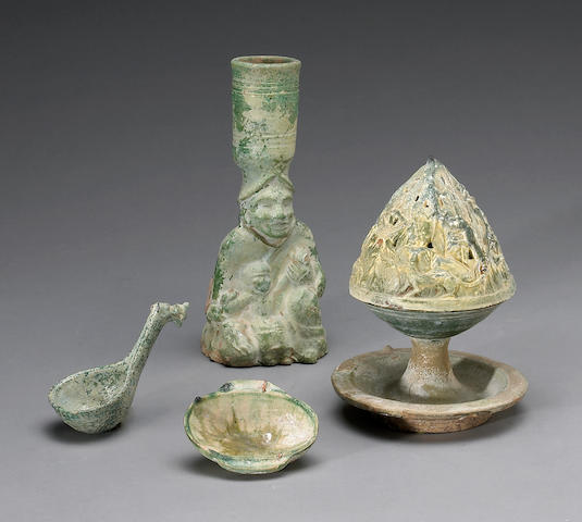 A group of green glazed pottery funerary articles Han Dynasty
