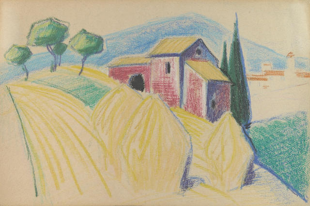 Oscar Bluemner, Hay Stacks, crayon, 5 x 7 1/4 in.