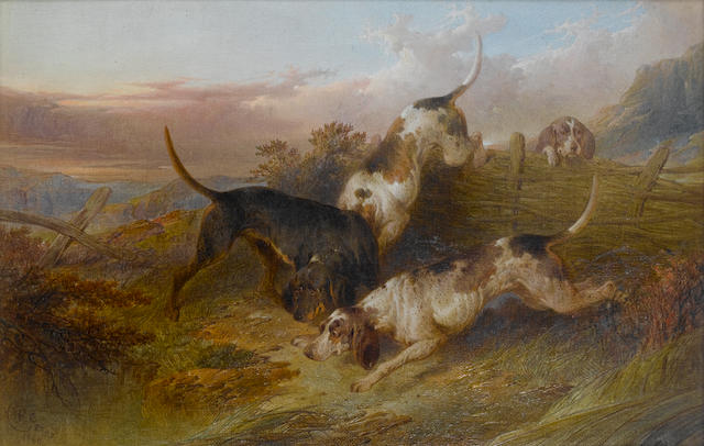 Paul Jones (British, active 1856-1879) Pointers stalking a grouse; Pointers putting up game each 12