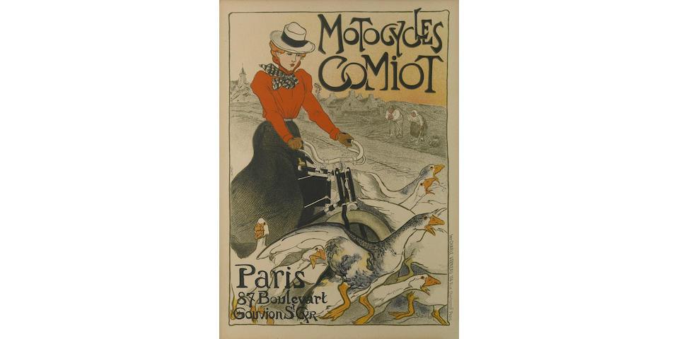 Théophile Alexandre Steinlen (Swiss/French, 1859-1923); Motocycles Comiot, from Le Maîtres de l'Affiche;