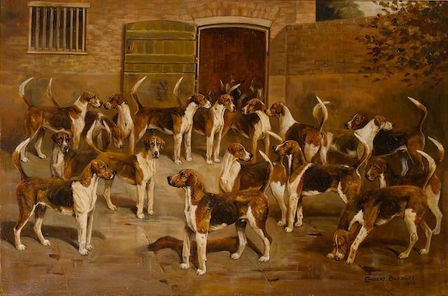 Cuthbert Bradley (British, 1861-1943) Hounds by a kennel