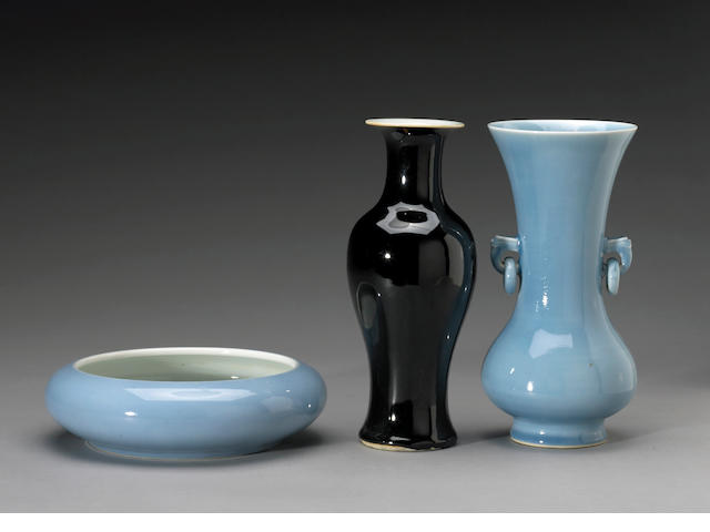 Group of three porcelain vessels