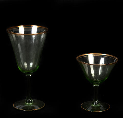 A set of green depression glass stemware