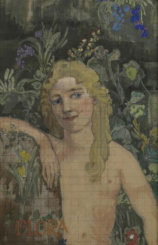 Arthur Bowen Davies (American, 1862-1928) Flora, Tapestry Design sight 15 5/8 x 10in
