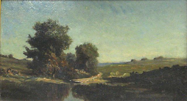 Victor Dupre, French Landscape Trees on River Bank w/ Antique Gilt frame, o/c