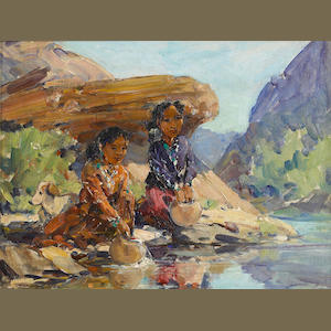 Marjorie Jane Reed (American, 1915-1996) Navajo Sisters at the Waterhole 12 x 16in