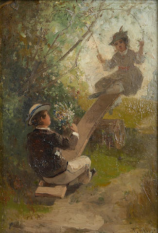Thomas Hill (American, 1829-1908) Children on a Seesaw 8 3/4 x 6in