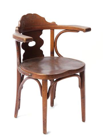 A pair of J & J Kohn bentwood armchairs