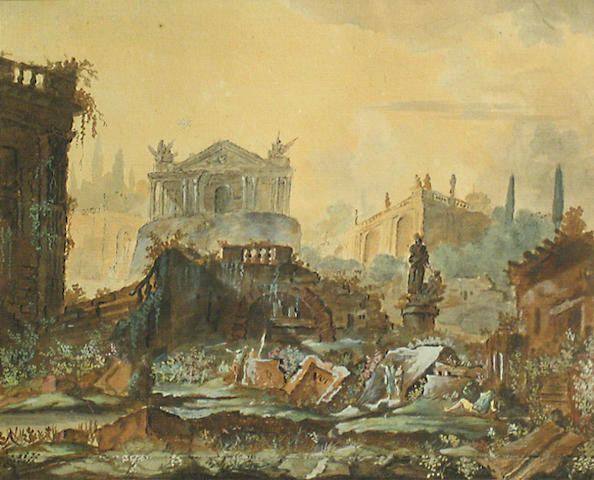Circle of Charles-Louis Clérisseau (French, 1722-1820), 18th Century A view of classical ruins with figures 7 1/2 x 9 1/4in (19 x 23 1/2cm)