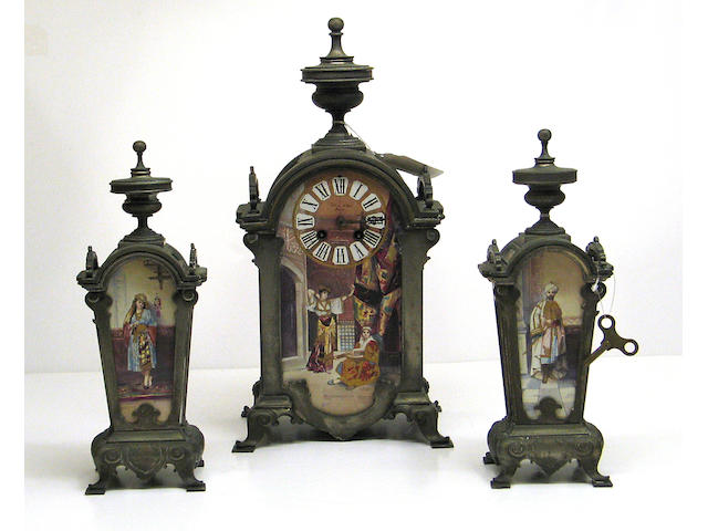 A French silvered bronze and ceramic mounted three piece clock garniture in the Islamic taste