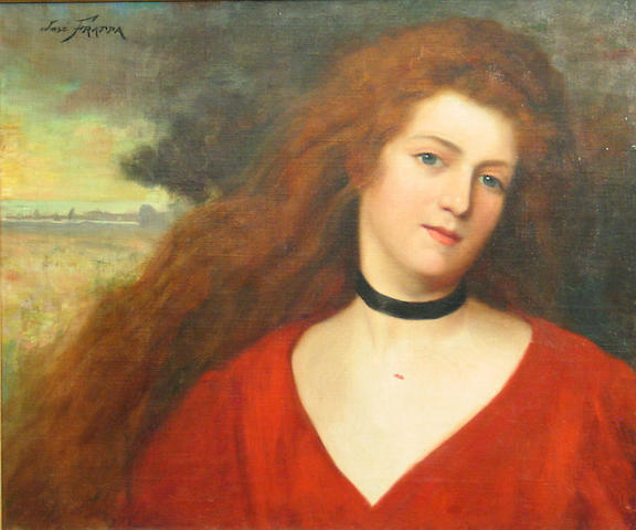José Frappa (French, 1854-1904) A portrait of a woman in red 20 x 24 1/4in