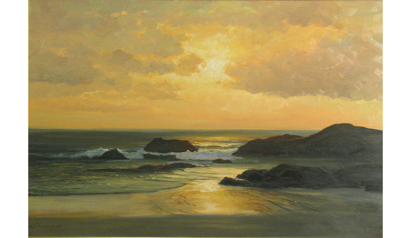 Robert Wood (American/British, 1889-1979) Seascape at Sunset 24 x 36in
