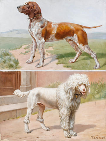 Theodor Breidwiser (Austrian, born 1847) A German Pointer in a landscape; A Standard Poodle by a doorway  28 3/4 x 21 3/4 in. (73 x 55 cm.) unframed