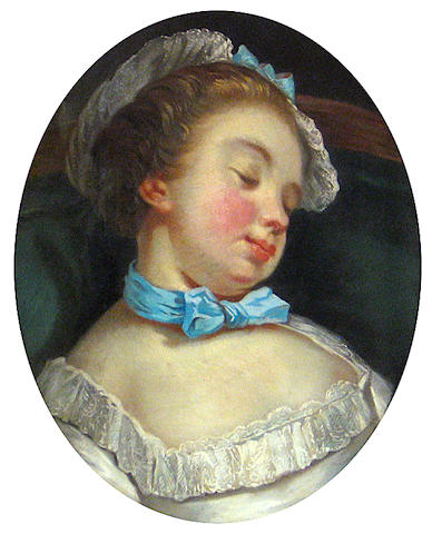Follower of Jean François Gilles Colson (Dijon 1733-1803 Paris) A sleeping girl oval 18 1/4 x 15in