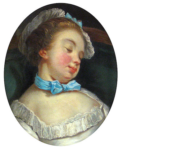 Manner of Jean-Baptiste Greuze A sleeping girl oval 18 1/4 x 15in (46.3 x 38.1cm)