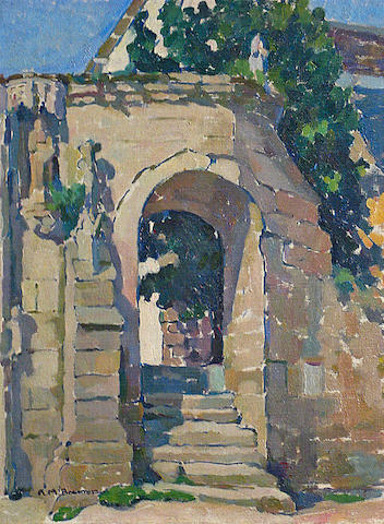 Anne Millay Bremer (American, 1868-1923) A View through a Stone Arch with Steps 25 x 20in
