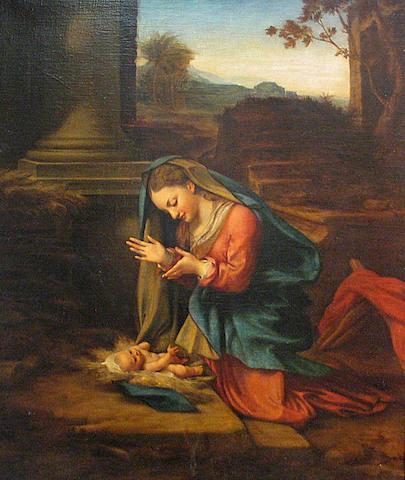 After Antonio Allegri, called il Correggio Madonna che adora il Bambino 32 1/2 x 27in