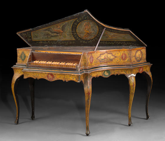 An Italian Rococo style paint decorated harpsichord