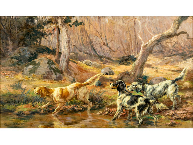 Edmund Henry Osthaus (American, 1858-1928) Three English Setters by a brook 14 x 24 in. (35.6 x 61.0 cm.)