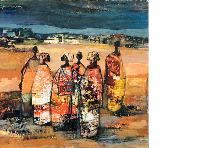 Jan Dingemans (South African, 1921-2001) Congolese figures 46 x 45.5cm (18 1/8 x 18in).