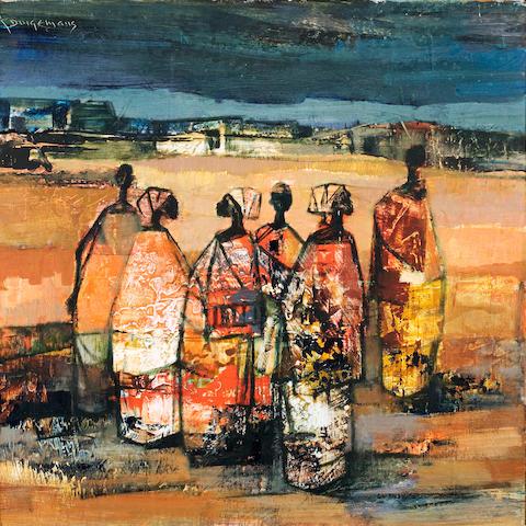 (n/a) Johannes Wilhelmus (Jan) Dingemans (South African, 1921-2001) Congolese figures 46 x 45.5cm (18 1/8 x 18in).