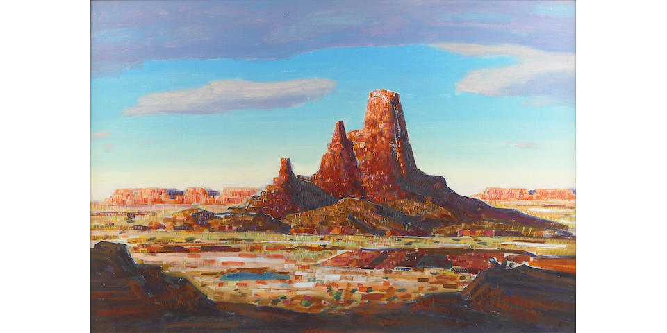 Conrad Buff (American, 1886-1975) Utah; Mountains by the Lake (double sided) 24 1/4 x 35in
