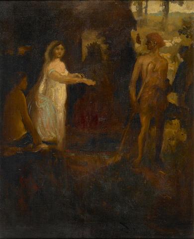 Arthur Bowen Davies (American, 1862-1928) Allegorical Scene 34 x 28in