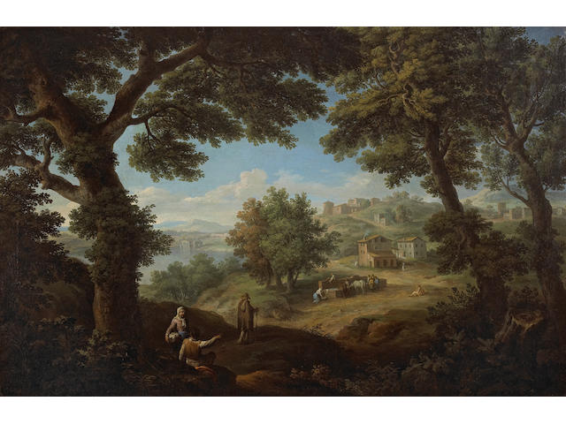 Paolo Anesi (Italian, circa 1700-circa 1761) A wooded landscape with figures resting by a tree and a hill town beyond 25 1/4 x 39in (64.2 x 99cm)