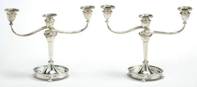 A pair of American silver three-light candelabra