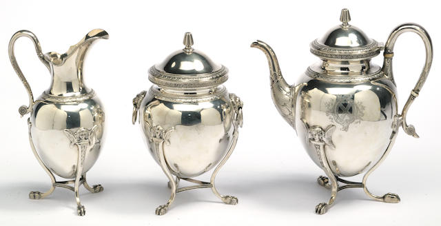 An American silver three-piece tea set