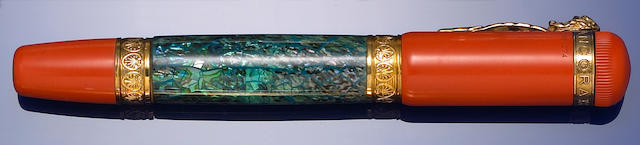 "Red hard rubber and paua shell mother-of-pearl ""Paua"" fountain pen by Ancora"