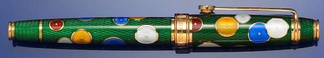 DAVID OSCARSON: Green enamel Pierrot and Pierrette fountain pen
