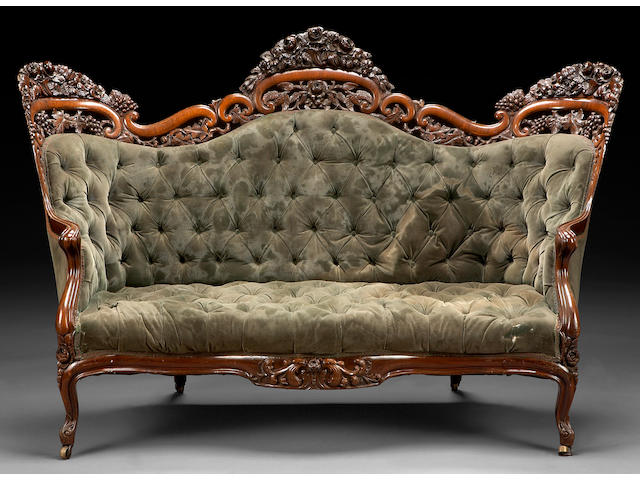 An American Rococo pierce-carved and laminated rosewood sofa