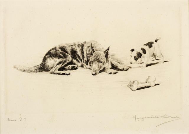 Marguerite Kirmse (American, 1885-1954) Dare I?, German Shepherd and Wire Fox Terrier 6 x 9 1/2 in. (15.3 x 24.2 cm.)