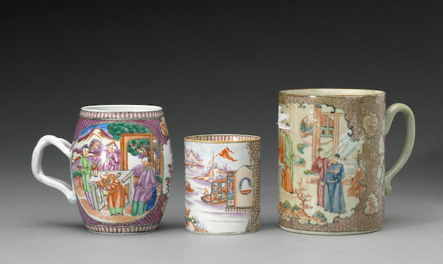 An assembled group of famille rose enameled export porcelain containers Late 18th and Early 19th Centuries