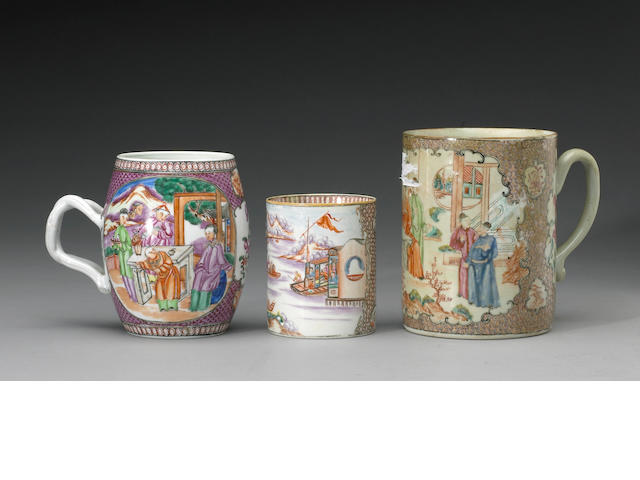 "An assembled group of ""famille rose"" enameled  export porcelain containers executed in the ""Mandarin"
