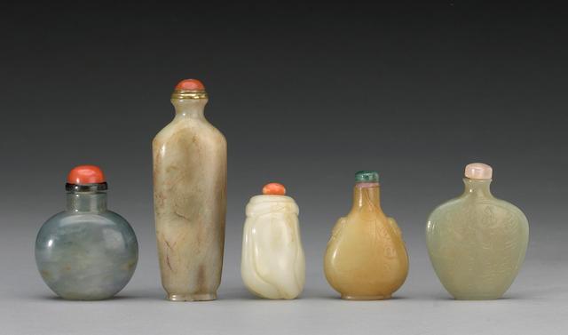 Five jade snuff bottles