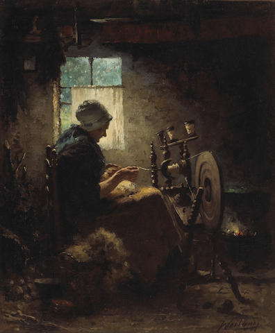 Johannes Weiland (Dutch, 1856-1909) A woman at a spinning wheel 25 3/4 x 21 1/2in