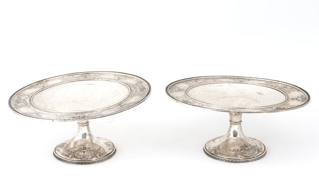 Sterling Pair of Dessert Stands by International